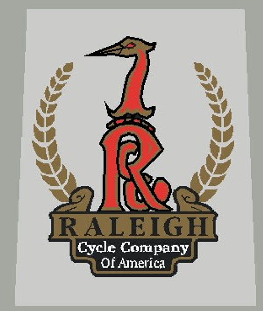 Raleigh Heron Nottingham Seat Tube Badge Small With Wreath Decal - 1 Piece