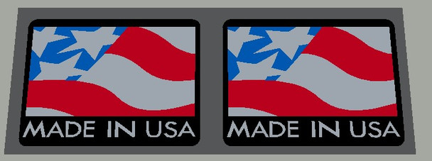 Made in USA Flag  Bicycle Decals on chrome - 1 Pair