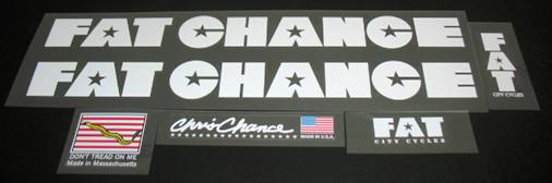 Fat Chance Bicycle Decal Set