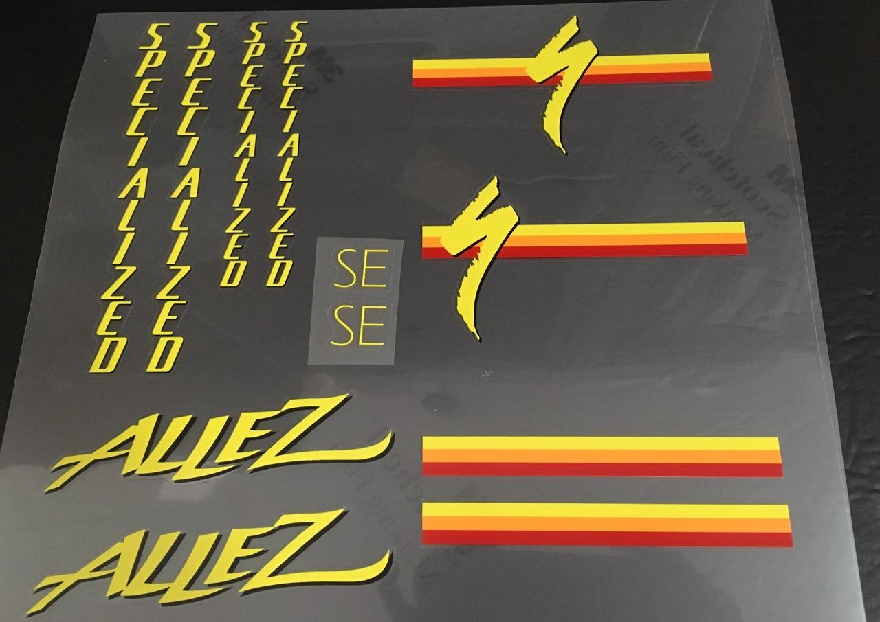 Specialized 1986 Allez Bicycle Decal Set