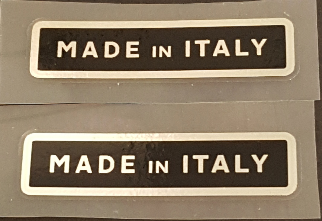 Made in Italy Decals - Black/Chrome - 1 Pair