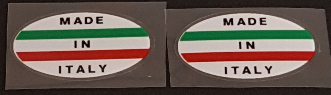 Made in Italy Bicycle Decals - Oval (white) - 1 Pair