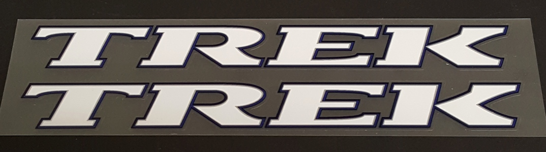 Trek Late 1990s Down Tube Decals w/Double Outline - 1 Pair - Choice of Colors and Size