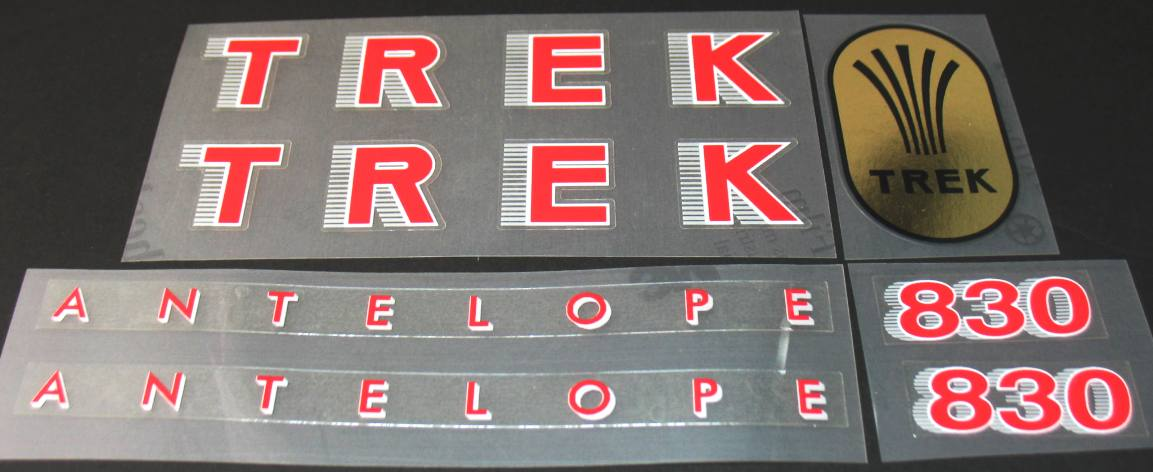 Trek 1986 830 Antelope Bicycle Decal Set