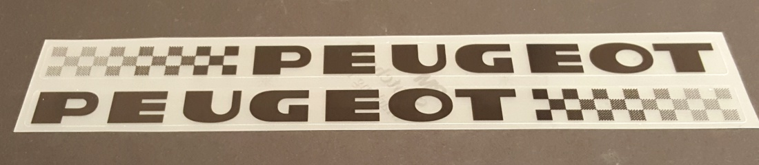 Peugeot 1980s Down Tube Decals  - 1 Pair - Choose Black or White