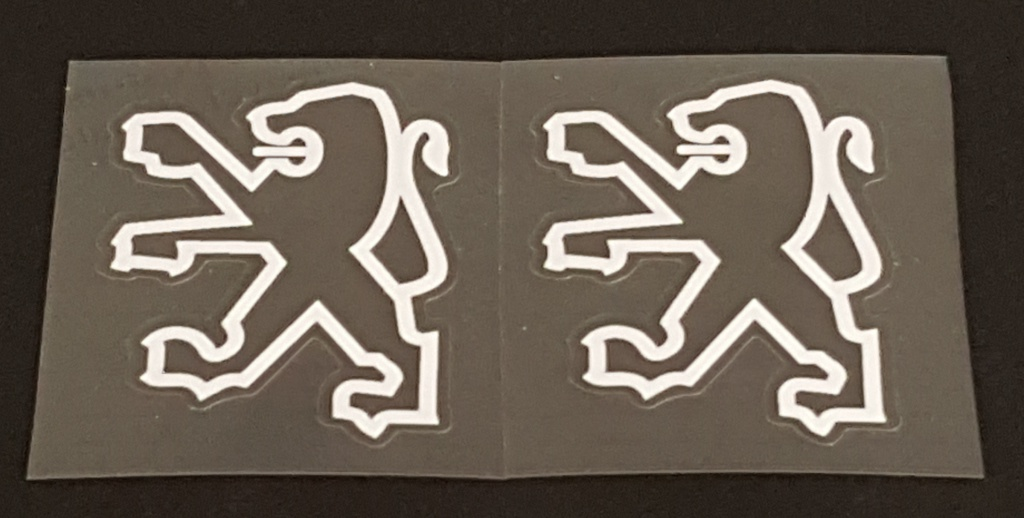 Peugeot Seat Tube Decals - 1 Pair  Left Facing Lions