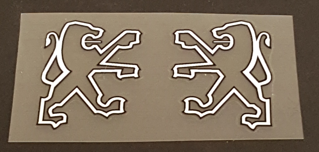 Peugeot Seat Tube Decals - 1 Pair  Opposing Lions