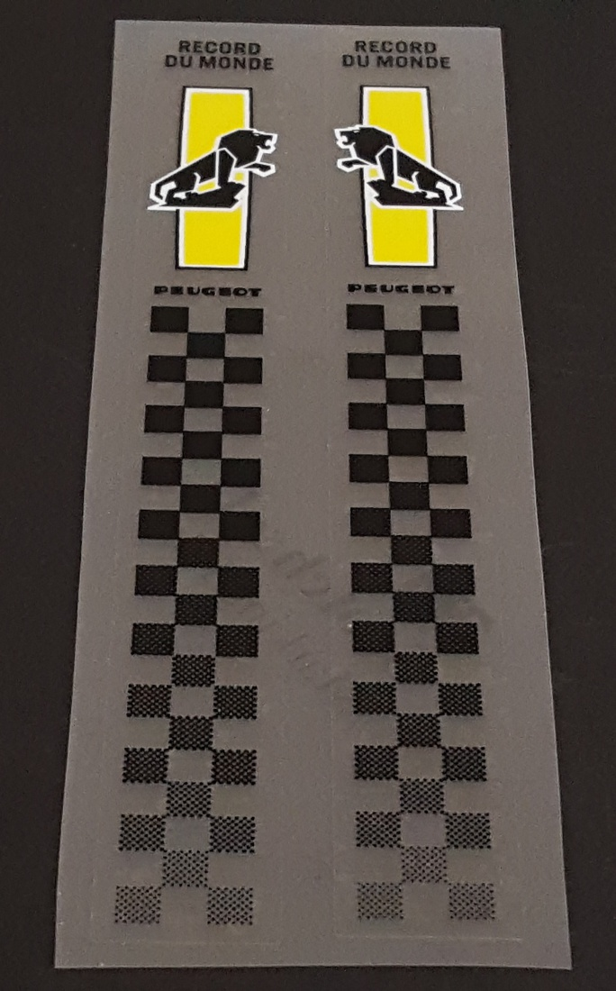 Peugeot Seat Tube Decals with Checkerboard- 1 Pair