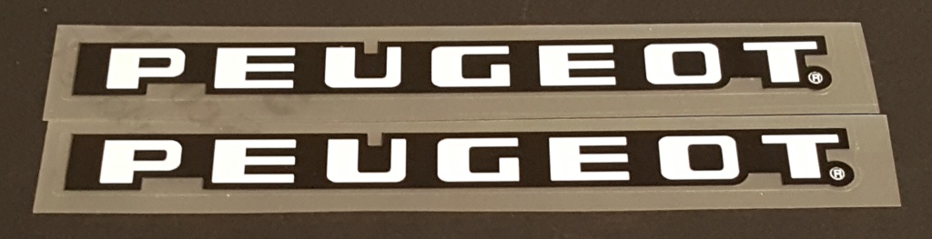 Peugeot  Stay Decals  - White on Black - 1 Pair