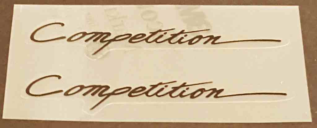 Competition Top Tube Decals - 1 Pair (Script)