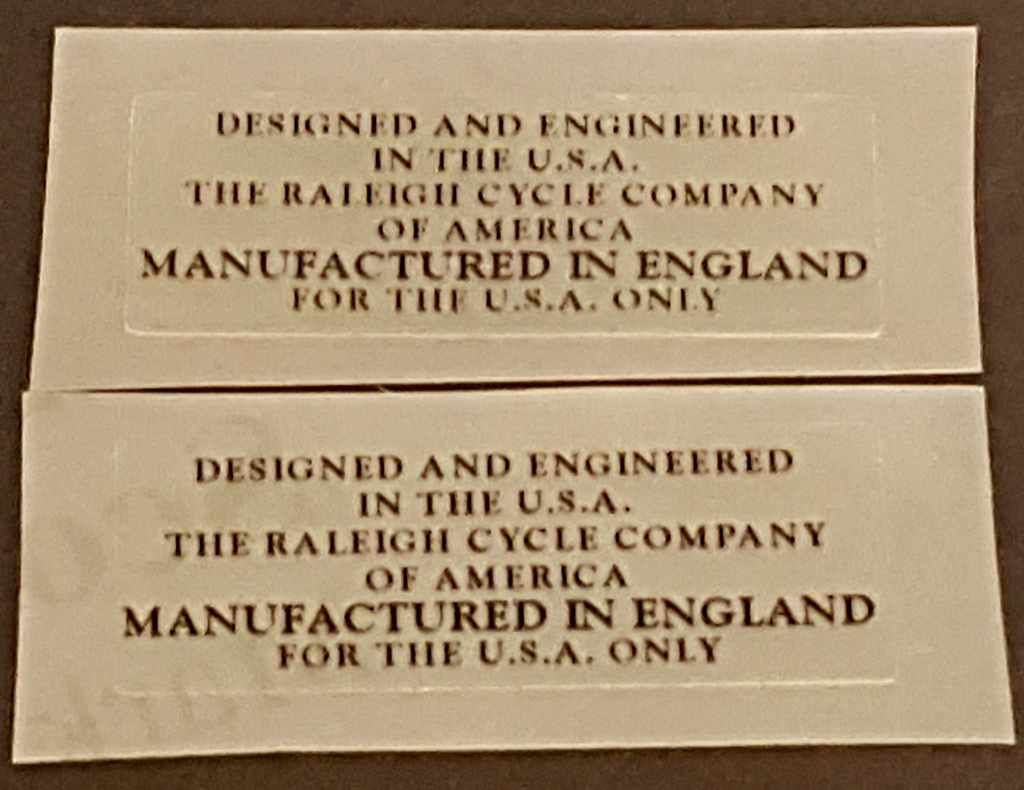 Raleigh Manufactured in England Decal - 1 Pair