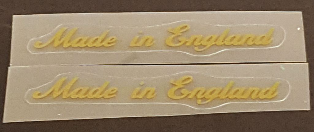 Made in England Decals - Small Gold Script - 1 Pair