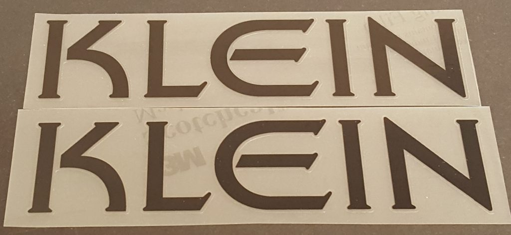 Klein Down Tube Decals - 1 Pair - Choice of Color