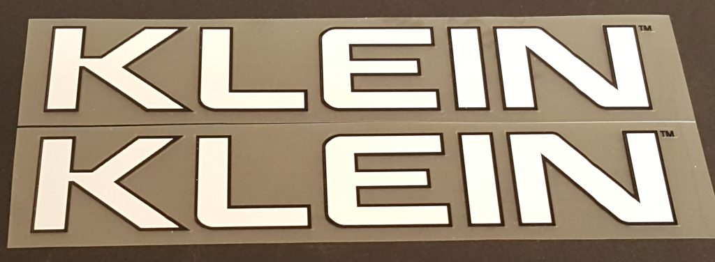 Klein Down Tube Decals - 1 Pair - Choose Letter/Outline Colors