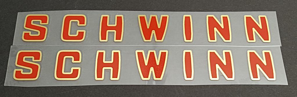 Schwinn Down Tube Decals  - 1 Pair - Red with Mirror Gold Outline