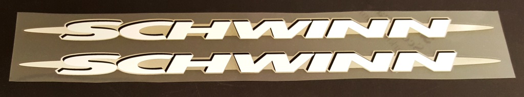 Schwinn Down Tube Decals  Extended w/Chrome - 1 Pair - Choose Colors