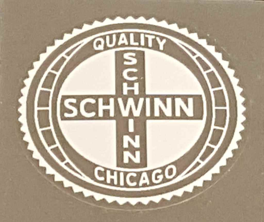 Schwinn Quality Chicago Seat Tube Decal with Gear Border - Choice of Color on Clear