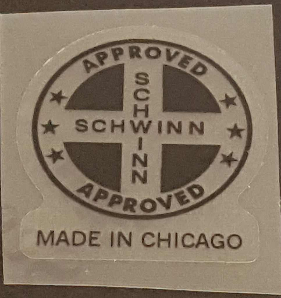 Schwinn Approved/Made in Chicago Seat Tube Decal - Choice of Color on Clear