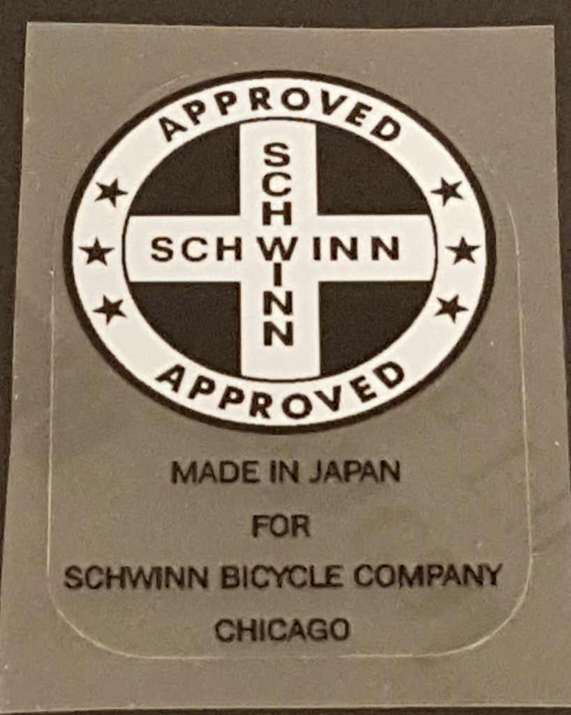 Schwinn Approved/Made in Japan Seat Tube Decal with Black Lettering Below