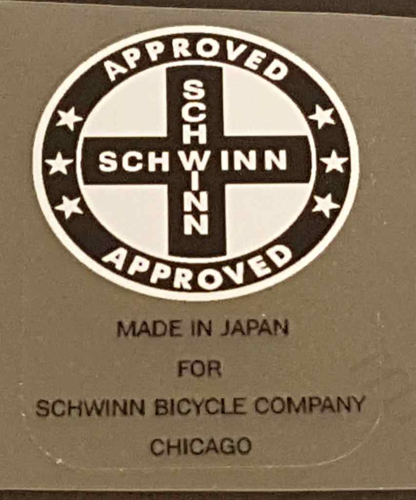 Schwinn Approved/Made in Japan Seat Tube Decal - Choose Cross/Circle Color
