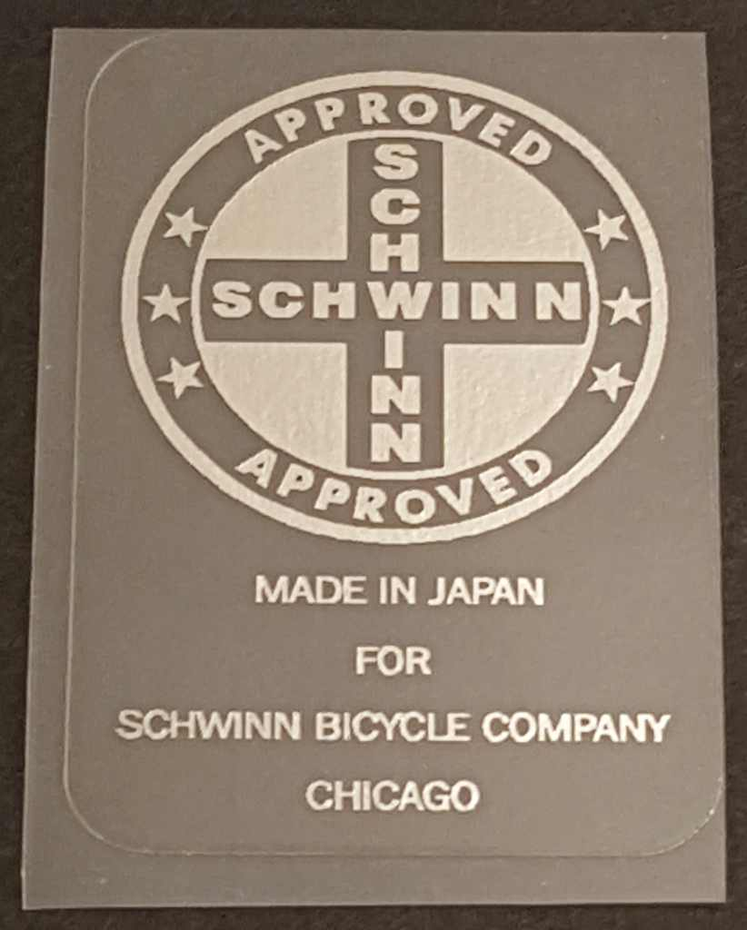 Schwinn Approved/Made in Japan Seat Tube Decal in Chrome