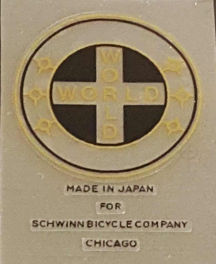 Schwinn World/Made in Japan Seat Tube Decal with Gold Lettering/Stars
