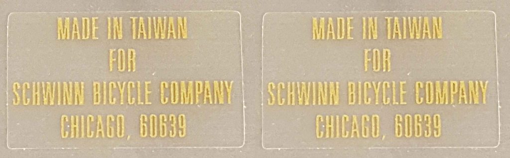 Schwinn Manufacturing Decals - 1 Pair - Metallic Gold on Clear