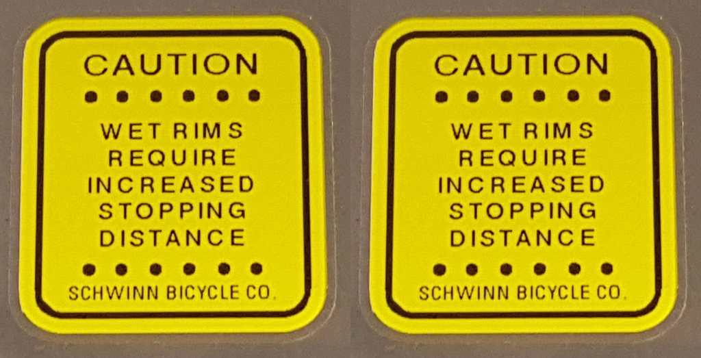 Schwinn Caution Decals - 1 Pair - Yellow - Choose Size