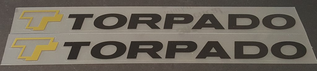 Torpado Down Tube Decals - 1 Pair - Choose Colors (Clear Logo)