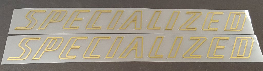 Specialized Down Tube Decals Clear w/Outline  - 1 Pair - Choose Outline Color