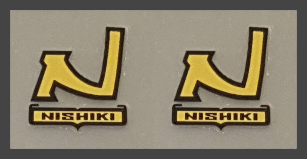 Nishiki Seat Tube Badge Decals w/Outline- 1 Pair