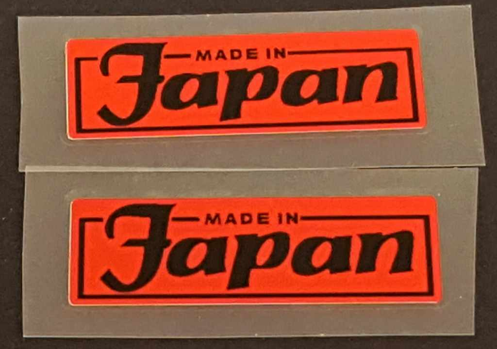 Made in Japan Decal - 1 Pair - Choose Background Color