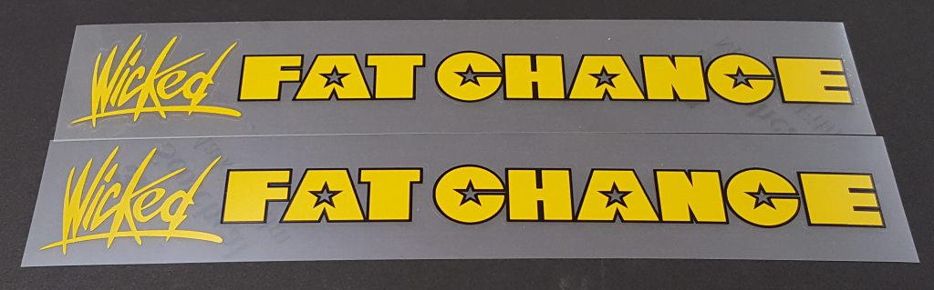 Fat Chance Wicked Down Tube Decals - 1 Pair - Choice of Colors