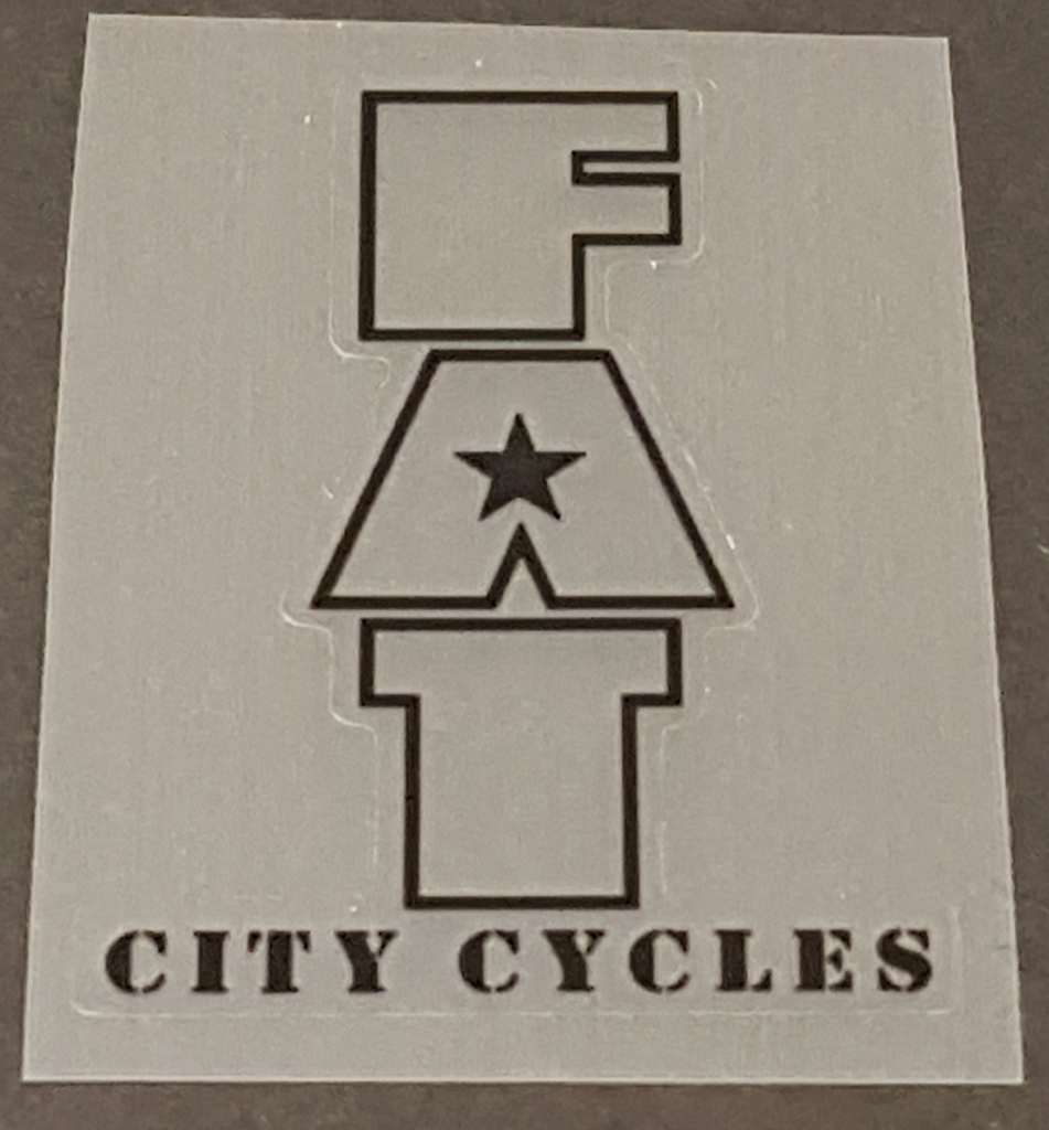 Fat Chance Fat City Cycles Head/Seat Tube Badge Decal - Clear - Choose Outline Color