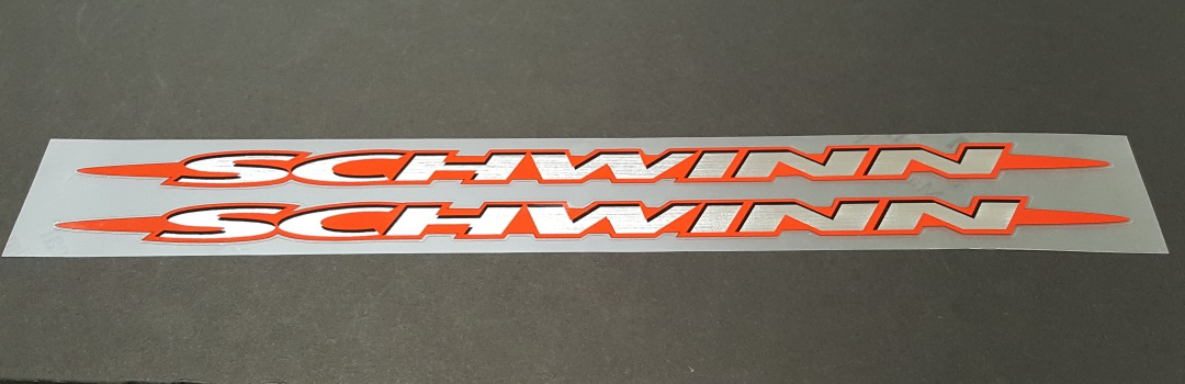 Schwinn Down Tube Decals with Brushed Chrome - 1 Pair - Choose Background color