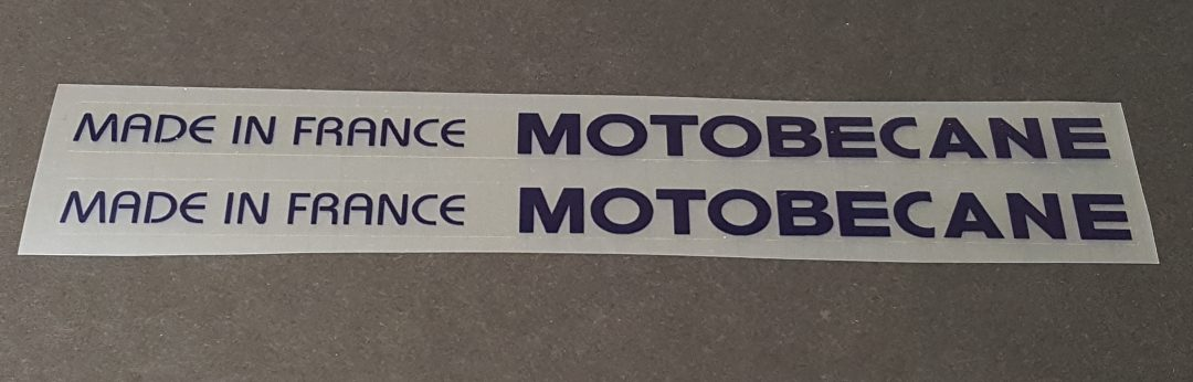 Motobecane Made in France Down Tube Decals - 1 Pair - Choose Color