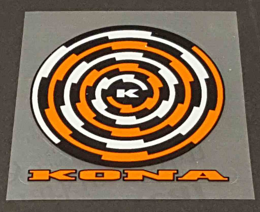 Kona Spiral Head Badge Decal - 3 color - Choose Colors