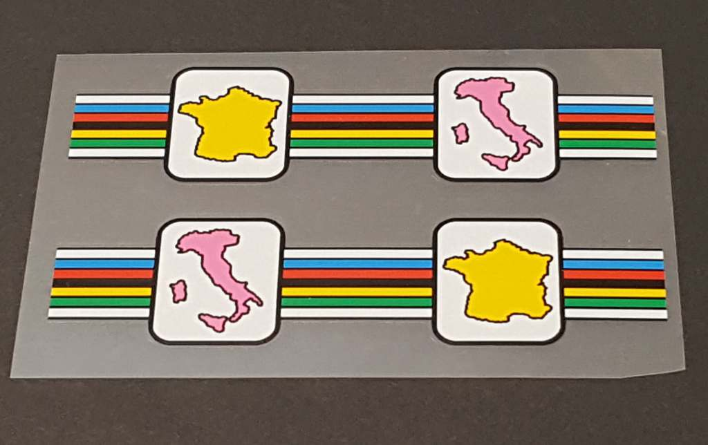 Eddy Merckx Seat Tube Olympic Stripes/Map Decals - 1 Pair