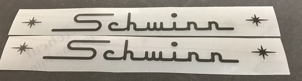 Schwinn Straight Top Tube Decals with Stars - 1 Pair - Choose Color