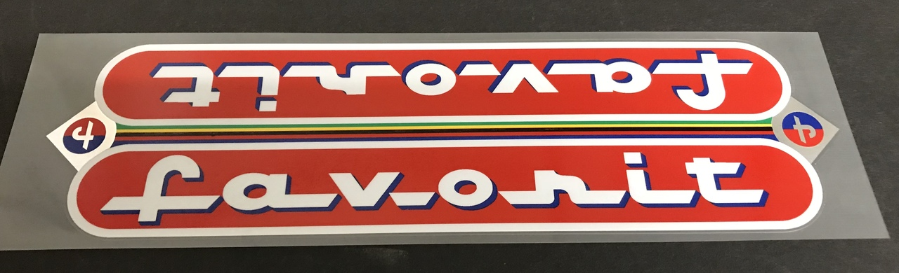 Favorit Down Tube Wrap Decal with Chrome Accents