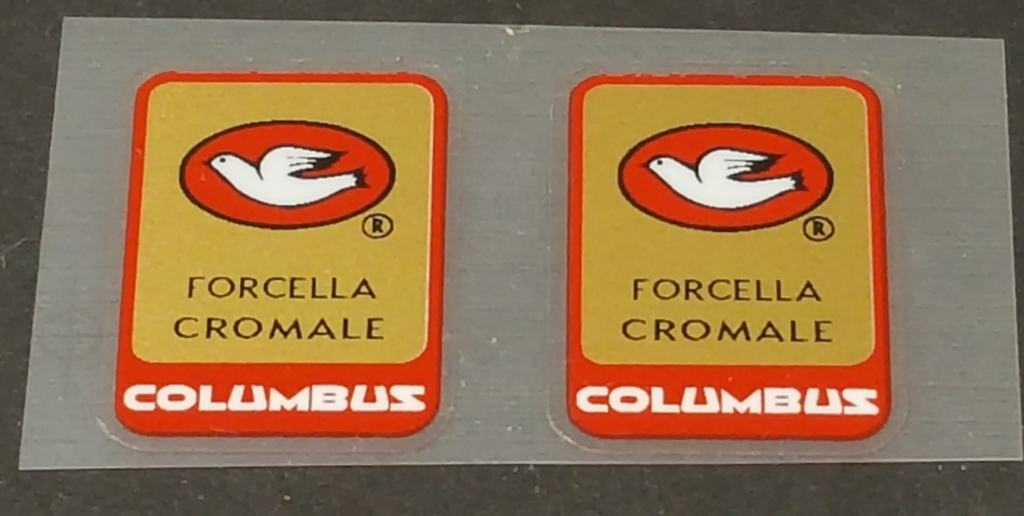 Columbus Cromale Fork Tubing Decals - 1 Pair - Tomato Border