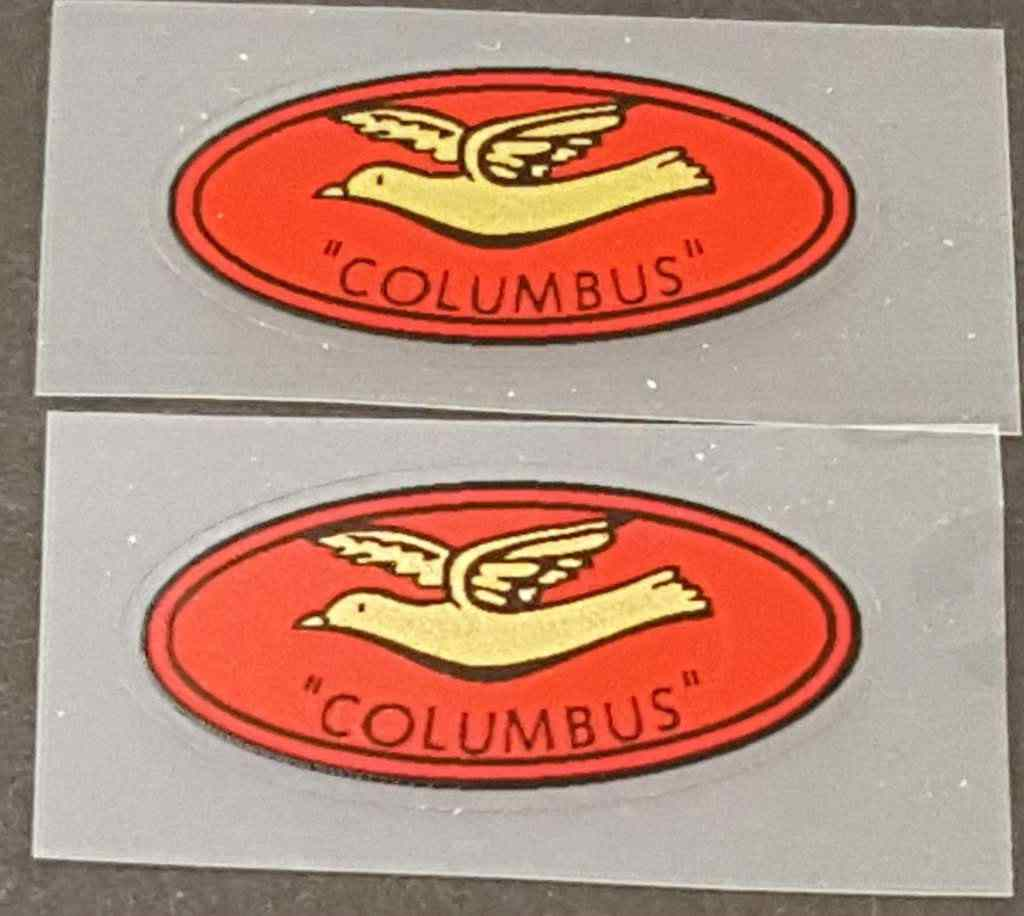 Columbus Fork Tubing Decals - 1 Pair - Gold on Red
