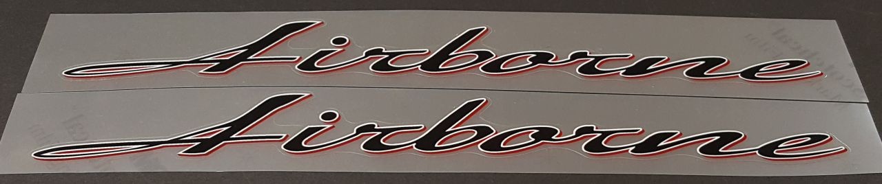 Airborne Down Tube Decals w/Outline & Shadow - 1 Pair - Choose Colors