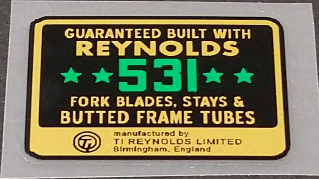 Reynolds 531 4-Stars Tubing Decal w/Mfg Info