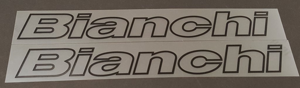 Bianchi Outline Down Tube Decals - 1 Pair  Cut Vinyl - Choose Color