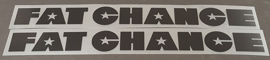 Fat Chance Down Tube Decals  - 1 Pair 196mm - Cut Vinyl - Choose Color