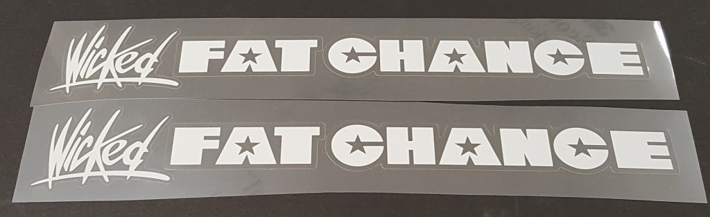 Fat Chance Wicked Down Tube Decals  - 1 Pair - Cut Vinyl - Choose Color
