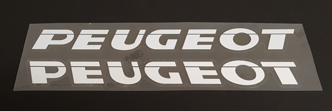 Peugeot Down Tube Decals--1 Pair Cut Vinyl--Choice of Color