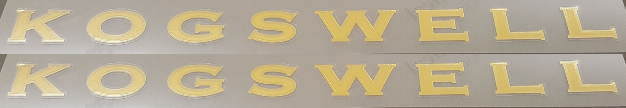 Kogswell Down Tube Decals - 1 Pair - Mirror Gold Outline