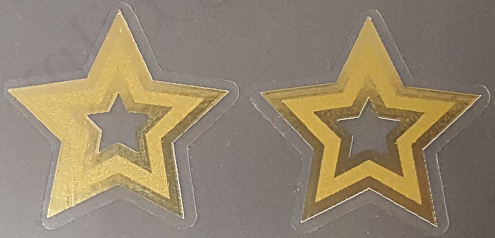 Kogswell Seat Tube Star Decals - 1 Pair - Mirror Gold Outline
